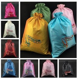 Wholesale Cloth Tea Bag - 2pcs Fashion Embroidered Dance Shoe Storage Bag with lined Satin Cloth Drawstring Crafts Gift Tea Candy Packaging Pouches