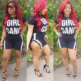 Wholesale sexy girls tee - Gilr Gang Print Sexy T-shirt+Shorts 2pcs set Tracksuit short pant suit Summer Cool top tee Shorts Casual Sportswear Suit Outfit S-3XL