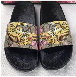 Wholesale Latex Girls - New Fashion Women and men summer sandals casual shoes printing tiger brand G Boys and girls slippers with box