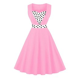 Wholesale Tank Prom Dresses - Women Vintage Dress 1950s Summer Patchwork Black A line Party OL Dresses Sleeveless Block Tank Prom Evening Cothing DK3066MX