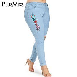 b1765736ec18 PlusMiss Plus Taille Sexy Maigre Trou En Difficulté Brodé Jeans Maman 5XL Femme  Dames Déchiré Denim Pantalon Femmes Grande Taille XXXL XXL pantalons de ...