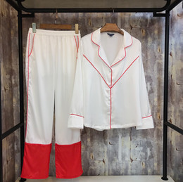 Wholesale Ladies Pajamas Pants - 2018 New Fashion Spring Women's Silk Pajamas Two Pieces Pants Suit Satin Soft Home Clothes Ladies' Nightwear Sleepwear