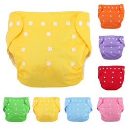 Wholesale cotton cloth diapers - Newbrons Baby Diapers Reusable Nappies Cloth Diaper Children Baby Cotton Washable Training Pants Waterproof Solid Color Panties Nappy