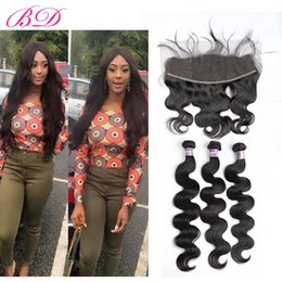 Wholesale Free Hair Color - BD Brazilian Human Hair Extensions Indian Peruvian Malaysian Virgin Body Wave Human Hair 3 Bundles With Frontal Closure Free Part 13*4.5