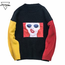 Wholesale Girls Patching Dress - Aelfric Eden Men's Sweater 3d Patch Design Funny Girl Pullover Homme Hip Hop Turtleneck Sweater Couple Dress Warm Sweaters S005