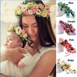 mom band Coupons - 2018 New Fashion Kids And Mom Artificial Flower Hair Band Family Holiday Photographs Scattered Hair Accessories Flower Headbands KC106