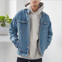 casacos afligidos do jean Desconto Smeiarar Azul Angustiado Jaqueta Jeans Homens Outono Rasgado 2018 Jeans Casaco Casaco Masculino Slim Fit Casaco de Algodão Casuais Plus Size