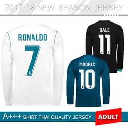 Wholesale Top Soccer Jersey Madrid - top 17 18 Real madrid Long sleeve Soccer Jersey Benzema RONALDO MODRIC LUCAS MORATA BALE KROOS ISCO Home Away 2017 2018 Football uniform