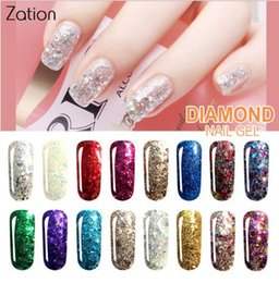 2019 palle lucide sequin Hot Diamond Shiny Sequin Glitter Gel UV Vernice Shine Shimmer Top Gel base Lacca Primer Manicure Gel Smalto per unghie palle lucide sequin economici
