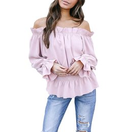 cf639c5d Sexy Womens Tops Off The Shoulder Ruffle Long Sleeve Blouse Summer Elegant Ladies  Shirts S-XL