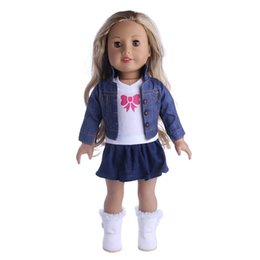 Wholesale 18 inch american doll - 18 Inch American Girl Doll Clothes Jeans Coat and T-shirt With Skirt Baby Dolls Clothes Suit Hot Sales