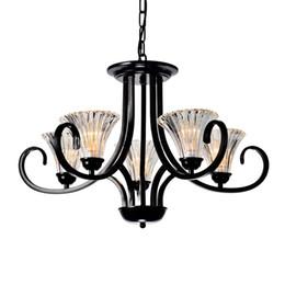 Canada Vintage pays rustique salle à manger lustres pendentif lumière américaine salon noir fer chaîne de verre loft chambre pendentif luminaire Offre