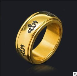 Wholesale Stainless Jewellry - 316L stainless Rings For Men Jewelry With Luxury Cubic Zirconia Gold Color Muslim Islamic Jewellry Male Wedding Bands Ring R390