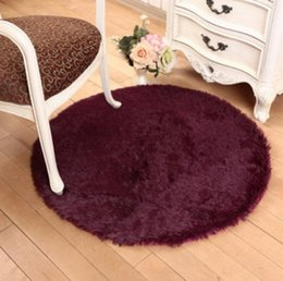 Wholesale Brown Area - Free Shipping Bedroom Flutty Round Rugs Anti-Skid Shaggy Living Car Area Rug Dining Room Home Carpet Floor Mat Flokati,12 Colors,7 Sizes