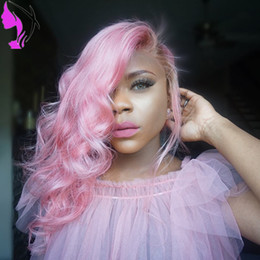 Wholesale Short Dark Green Wig - Free part Short Pink Straight Bob Wig Synthetic Heat Resistant body wave ombre Pink Lace Front Wigs with brown roots for Women