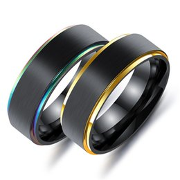 Wholesale Width 7mm - Factory Outlet Europe and America Titanium Steel Rings Men's Face Width 7mm Slots Rings Colorful Black Gold Lasha Plating Ring