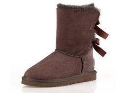Botas de invierno de proa online-AAAA VENTA CALIENTE Nueva Moda Australia clásico invierno botas bajas de cuero real Bailey Bowknot mujeres bailey arco botas de nieve