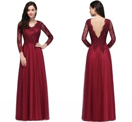 Wholesale Evening Dresses Tull - V Neck Evening Dresses Long Sleeves Lace Applique Tull Backless A Line Floor Length Formal Party Prom Gowns Vestido de Festa 2018 CPS721