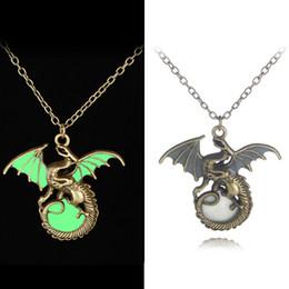 Wholesale pendant light bronze - antique silver bronze new luminous necklace fliying dragon retro lighting zinc alloy men's pendant wholesale