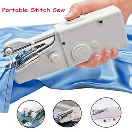 Wholesale mini portable hand sewing machine - White Handy Stitch Mini Portable Electric Tailor Stitch Handle Sewing Machine Home Travel Cordless Hand Tool AAA586