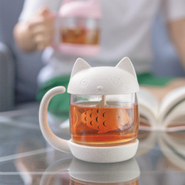 katze kaffeetassen Rabatt Neues Design Pandapark Nette Katze Glas Persönlichkeit Milch Becher Mit Infuser Büro Kaffeebecher Kreative Frühstück Tassen