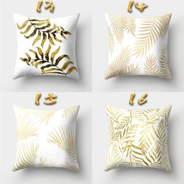 Wholesale yellow decorative pillow covers - 16 Designs 45*45cm Gold Pattern Relief Cushion Covers Linen Bedroom Seat Decorative Pillow Home Decor Kitchen Accessories Party Decoration