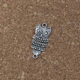 a9b24caebd8f MIC 100 unids   lote Encantos búho conector 12.8   28.5mm Joyería de Plata  Antigua DIY Fit Collar de Pulseras F-1 conectores para collares baratos