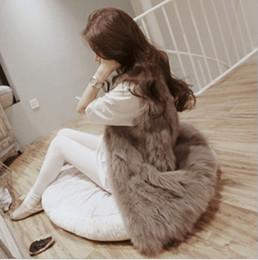 Wholesale Womens Long Black Vest - 2016 Autumn Winter Faux Fur Vest Colete De Pele Falso Jacket Casacos Femininos Womens Coat Plus Size