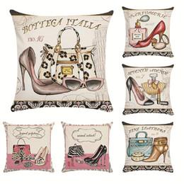 Canada Dames talons hauts housse de coussin coton lin rétro papillon taie d'oreiller pour canapé décoratif taies d'oreiller couverture en gros Offre