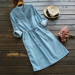 Wholesale Casual Maxi Dresses For Girls - 2018 Autumn Spring Woman Mini Club Dress Long Sleeve Denim Maxi Ladies Dresses For Womens Stand Neck Mori Girl Dress Blue Color Size S-L