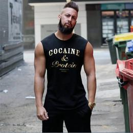 Herren weißes schwarzes hemd online-Mode Herren Tanktops Sexy Fitness Bodybuilding Atmungsaktive Sommer-Unterhemden Schmal geschnittene Herren T-Shirts Weiß Schwarz T-Shirt