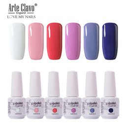 yellow white nail art Coupons - Arte Clavo 6PCS Gel Nail Polish Lacquer Kit 85 Colors Nail Art Soak Off UV Gel Polish Varnish Lacquer 8ML All For Manicure