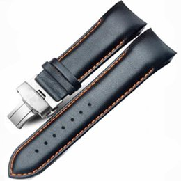 Wholesale 23mm Button - 22mm 23MM 24MM High Quality Butterfly Buckle Orange Line Black Smooth Genuine Leather Watchband For T035 T035407 T035410 Straps