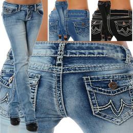 pantalones negros de talla grande Rebajas 2018 Jeans de moda para mujer Pantalones de cintura baja Estirar los vaqueros de mezclilla rectos para Lady Slim Fit Pantalones largos