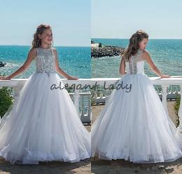 Wholesale girls birthday dresses for teens - 2018 Glitz Beaded Crystal Girls Pageant Dresses for Teens Tulle Floor Length Beach Flower Girl Dresses for Weddings Custom Made