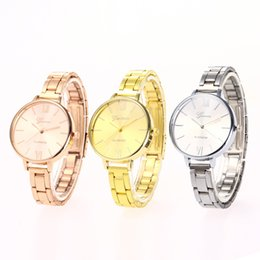Wholesale Rose Gold Ladies Geneva Watch - Women Geneva Watch Casual Analog Quartz Clock Hours Ladies Dress Rose gold Wristwatches