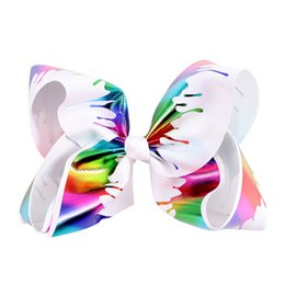 Pinzas para el cabello hechas a mano princesa online-7inch Graffiti Ribbon Jojo Bow Pinzas para el cabello para niñas Princess Handmade Hair Bows Hairgrips Kids Hair Accessories 10pcs Regalo de Navidad