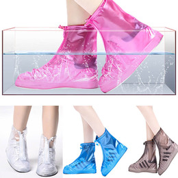 Wholesale overshoe boots - Waterproof Rain Shoe Covers PVC Anti-Slip Reusable RainShoe Zipper Rain Boot Overshoes Waterproof Wear Resistant Shoes TY7-184