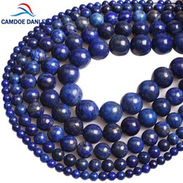 2019 12мм рождественские бисер CAMDOE DANLEN 100% Natural Lapis Lazuli Round  4 6 8 10 12mm Diy Bracelet Necklace Fashion Jewelry Making Christmas Gift дешево 12мм рождественские бисер