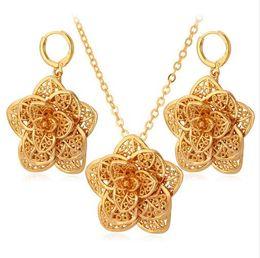 Wholesale trendy color bracelets - Big Flower Necklace Set Gold Color Exquisite Pendant Necklace And Earrings Party Jewelry Set For Women Trendy S562