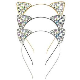 Nuevas muchachas de los cabritos lindos Rhinestone del metal Cat Ear Headband Hair Accessories Headwear Wholsale desde fabricantes