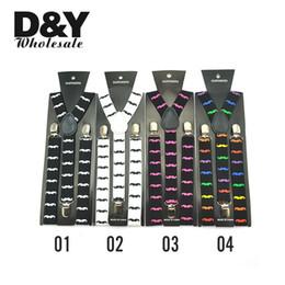 """Wholesale Suspenders Woman - Men women Unisex Clip-on Braces Elastic Suspender Fashion 9 Colors """"Mustache"""" pattern Mix Y-back Suspenders Wholesale & Retail"""
