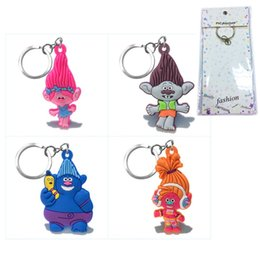 Wholesale Dj Plates - 10pcs Trolls Branch DJ Suki High Quality Bright Color Cartoon PVC Keychain Key Ring Bag Accessory With Fashion Package Kawaii Party Favors
