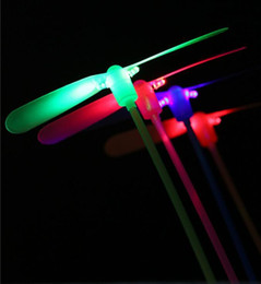 Wholesale led christmas lights dragonfly - Free Shipping 2 leaf Led Lighted Flying Bamboo Dragonfly Helicopter Boomerang Frisbee Flash Children Kids Boys Toys Christmas gift
