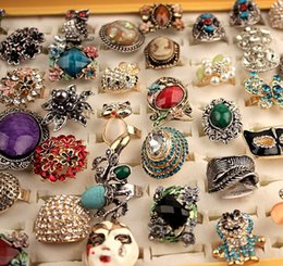 Wholesale vintage gold jewelry box - Unique 50pcs lot Mixed Styles Vintage Turquoise Natural Stone Rings Punk Style Crystal Resin Alloy Gemstone Jewelry in Box