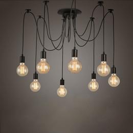 Retro Edison Light Bulb Chandelier Vintage Loft fai da te regolabile E27 Spider Lampada da soffitto cafe bar salotto lampada da