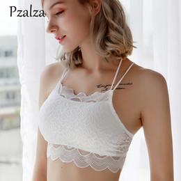 d1e947dba4 New Lace Bra Top Sexy Halter-Neck Back Cross Strap Women Bra Padded Wear  Outside Padded Top Bras Black White Ladies Brassiere