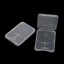 Carte sd de stockage en plastique en Ligne-1000 pcs 2 en 1 Standard SD SDHC Carte Mémoire Titulaire Titulaire Micro SD TF Carte Stockage Transparent Boîte En Plastique