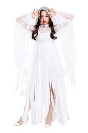 lunghi bei belli Sconti Capodanno donne sexy bianco vestito stracciato lungo bella velo di garza fantasma sposa angelo costume cosplay per halloween zombie vampiro