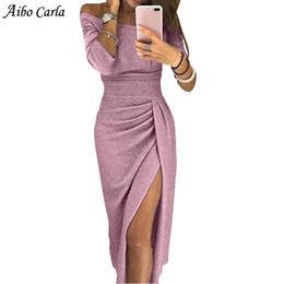 длинное платье с высоким разрезом bodycon Скидка Sexy Off Shoulder Party Dress яркий шелк блестящие платья женщин с длинным рукавом высокой талией старинные Bling Slit Bodycon Dress vestido